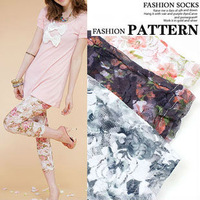 Free Shipping 2013 New Sexy leggings for women Vintage Lace leggings rose flower leggings tight pants trousers 80122