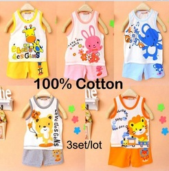 Free shipping Children&#39;s set Children T-shirt+pants,children set,children vest suit undershirt Shorts, Baby sets,clothing set(China (Mainland))