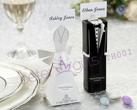Free Shipping 48pcs=24set Bride and Groom Wedding favor boxes and Wedding Card Holder TH001