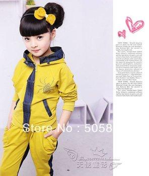 Children's clothing female child autumn child denim patchwork 2 piece set 100% cotton school wear casual clothing