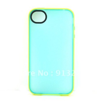 Luxury cell phone case BLUE WITH YELLOW  BORDER For iPhone 4S 4G 4   J12003-BY