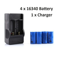 New 4x 16340 CR123A Rechargeable Battery + Wall Charger