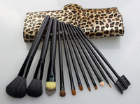New Fashion 12pcs Makeup Brush Set Make Up Powder Cosmetic Brushes Kits with PU Leopard Case, Free shiping