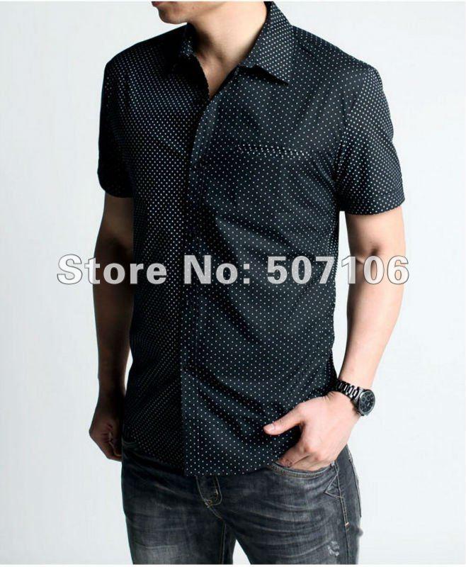short-sleeve shirt men's casual stylish shirts,brand slim-fit short ...
