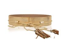 Free Shipping~~2014 Newest Fashion Women Waistband Cummerbund Bowknot&Tassel Long Rope Tie Leather Belt Double Buckle M039