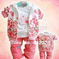 2015 new Baby girl clothing 3pcs set suit for autumn children's clothing flower velvet suits coat+shirt+pants trouses garment