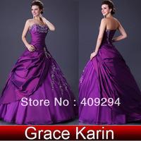 Free Shipping 1pcs/lot Free Shipping Grace Karin Sexy Stock Floor Length Satin+Chiffon Bridal Wedding Dress 2013 8 Size
