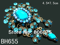 wholesale fashion vintage jewelry flower Zinc alloy rhinestone pendant Brooches Free shipping 12pcs/lot Mixed colors  BH655