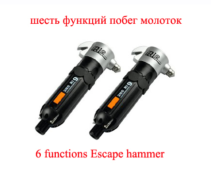 Free Shipping 6 in 1 emergency escape hammer ecumenical car life saving hammer safety hammer Car Accessories Security hammer(China (Mainland))