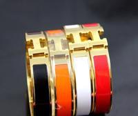 14k Yellow gold Black Red Orange White Gold H Charm bracelet Bangle,Free Shipping