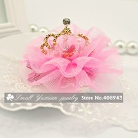 Free shipping New Fashion sinamay Colorful rhinestone Crown hair clips Lovely Kids/Girl/Princess Hair Accessories/Wholesale 3141