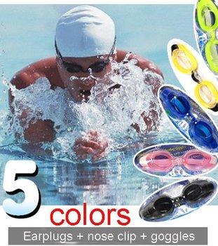 Swimming glasses earplugs + nose clip + Swim Goggles Adult Antifog 3PCs Set