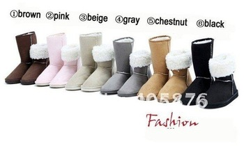 2012 HOT ! Women's Winter Snow boots for Lady & Gray,Coffe,Brown,Purple,Black,Beige,Pink