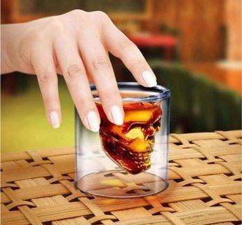 84pcs/ctn wholesale  Doomed Crystal Skull Shot Glass/Crystal Skull Head Vodka Shot Wine Glass Novelty Cup 75ml/pc