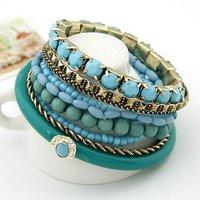 [Mix 15USD]  New Arrival Ladies Fashion Bohimian Blue beads Wide Cuff Bracelet Bangle,4colors Choose
