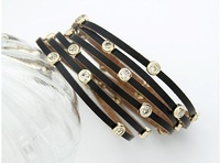 [Mix 15USD] Fashion multilayer jewelry CZ Cubic Zirconia Multiwrap Leather Bracelet Bangle for men or women