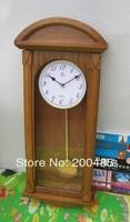 free shipping natural wood Wooden pendulum wall  Clock Oak color