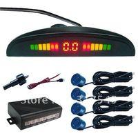 Silver of sensors,Rearview camera system,4 Sensors System 12v LED Display Indicator Parking Car Reverse Radar