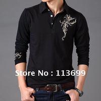 Retail Free Shipping 2012 new hot sale han printed cotton Slim Casual Shirt long sleeve Tee shirts men's clothing