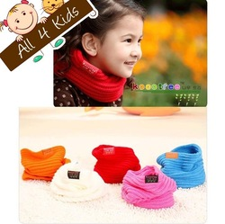 Lowest Price 5 Colors Children's Muffler Baby Autumn Warm Scarf Boy /Girl Knitted Ring O-Scarf 3pcs Free Shipping(China (Mainland))
