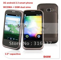 "MTK6573 android phone 3.5"" capacitive WCDMA+ GSM dual sims cell phone dual cameras GPS navigation freeshipping"