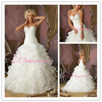 Free shipping New 2014 custom made Wedding Dress with beading  sweetheart organza bridal gowns