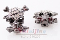 Wholesales 20*20mm Alloy Skull Beads Connectors with rhinestone for sideways bracelets  2012 New Arrival