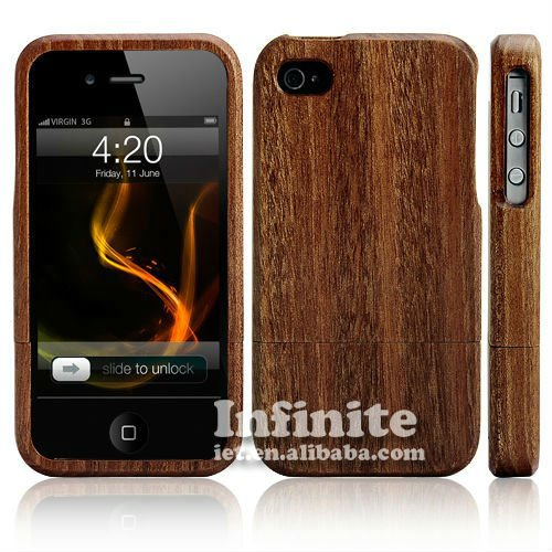 For iPhone Case Wood Combined 2 Piece with Aluminum Card Buckled