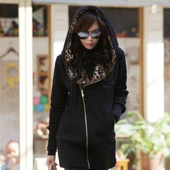 2014 Leopard lining thickening fleece slim hoodies sweatshirts women 3colors L,XL,XXL,3XL,4XL,5XL Free shipping