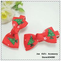 Fashion Christmas Tree Pattern Bowknot Girls Hair Clips,Baby Hair Bows,Kids Bobby Pin,FJ022+Free shipping