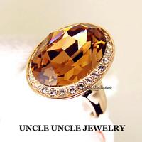 Ultra-big!!! Brand Design 18K Rose Gold Plated Big Egg Austrian Crystal Champagne Topaz  Luxury Finger Ring Wholesale