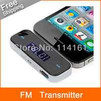 Wireless 3.5mm car fm transmitter for iPhone car kit fm talk for all cell phones & mp3 with build-in battery - Free shipping