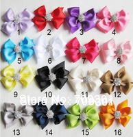 "3.5"" Hair Bows with Rhinestone Buttons Ribbon Bows girls hair bows 16 Colors U Pick 50 Pcs Free Shipping"