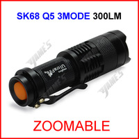( 50 pcs/lot ) SK68 Black UltraFire CREE Q5 Zoomable Focus LED 300lumen Waterproof Mini 14500 AA Camp Flashlight Torch 1Mode