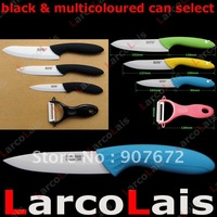 "4"" 5"" 6"" larcolais Fruit Utility Chef Black Multicoloured Handle Kitchen Ceramic Knife Set + Peeler 4pcs Christmas"