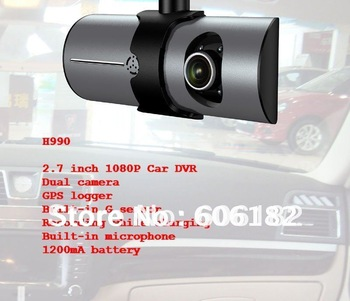 H990 2.7'' 1080P Car DVR Camcorder 12M pixel Vehicle Car Digital Video Recorder+Rear View Camera+GPS logger+G sensor