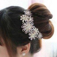 Free shipping, Trendy luxurious gorgeous rhinestone flower hair comb, 2012 Charming headwear jewelry