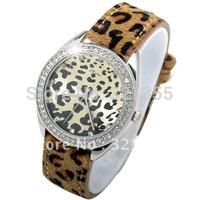 Relogio Feminino Rhinestone New Dress  fashion Leopard Leather Clock Watch women Japan Movement Quartz Watches Free Shipping