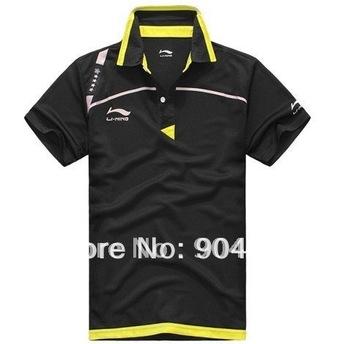 free shipping New 2012 Li Ning  Men Table Tennis 43120 Shirt yellow /black