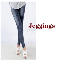 Women&#39;s Fashion Spandex Stretch Denim Skinny Jeans Look Jeggings Leggings Tights Free Shipping(China (Mainland))