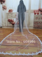 K005    New Long Lace One-layer With Lace Edge Bridal Vails