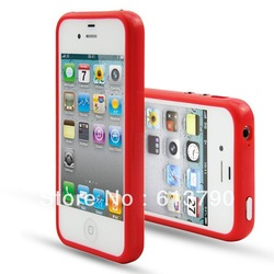 Free Shipping 1 piece TPU Bumper Frame Silicone Skin Case With Side Button For iPhone 4S 4G(106002)(China (Mainland))