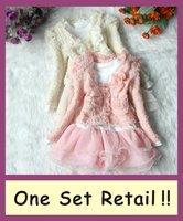 New 2014 baby children clothing sets girls dress for autumn -summer kids  tutu dress + lace coat hoodies kids princess dresses