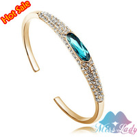 18K Gold Plated Crystal Wedding Moon Love open Bracelets & Bangles Bracelets for women Fashion Jewelry  Y4362