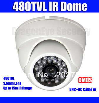 480TVL CCTV IR Dome Camera with 3.6mm lens 24 IR LEDs BNC+DC output, 20m IR distance, 480TVL Security Surveillance Camera