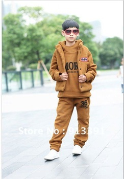 2012 new fall and winter clothes Girls Korean Fleece Parure, boys sports hooded David clothing thicker suits, Free Shipping