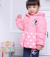 Best hot 100% cotton Girls Minnie design thick long coats  Children's coat Children's clothing,baby long coats