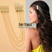 Min.order is $15 (mix order)2013 New European long gold plated chain hair combs,Free shipping,fashion tassels headwears,Hot sale