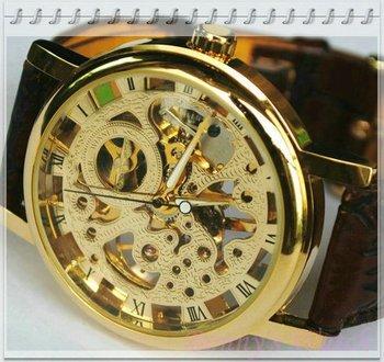Free Shipping!Mens brown leather Gold Skeleton Hand Wind Mechanical Watch, Unisex dress Watches,Original Brand Winner