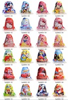 Free DHL-100Pcs Children Cartoon Drawstring Bag Backpack Mixed Wholesale 28.5X21CM Non-woven Material, Kids Christmas Gift